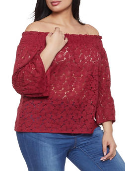 Plus Size Cinched Sleeve Crochet Off the Shoulder Top - 8428064467538