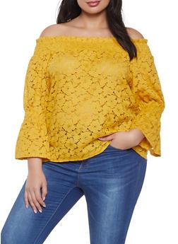 Plus Size Crochet Off the Shoulder Top - 8428064467538