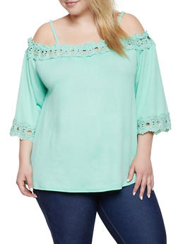 Plus Size Crochet Trim Off the Shoulder Top | 8428064467565 - 8428064467565