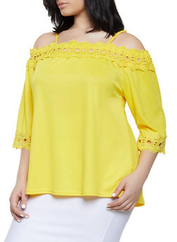 Plus Size Crochet Trim Cold Shoulder Top | 8428064467565 - 8428064467565