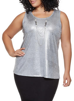 Plus Size Shimmer Knit Tank Top with Necklace - 8428065241296