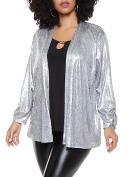 Plus Size Foil Print Cardigan with Attached Top - 8428065241435