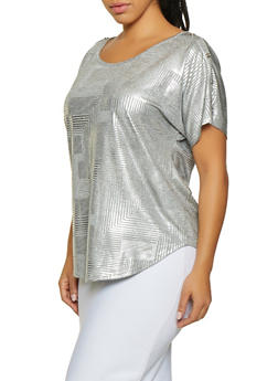 Plus Size Button Detail Foil Print Top - 8428065241504