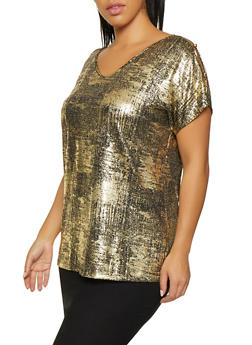 Plus Size Button Sleeve Detail Top - 8428065241505