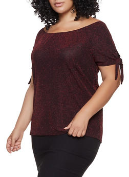 Plus Size Shimmer Tie Sleeve Off the Shoulder Top - 8428065241547