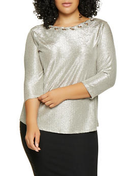 Plus Size Grommet Detail Metallic Top - 8428065241549