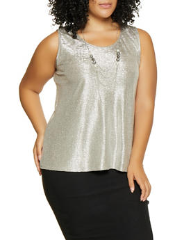 Plus Size Metallic Tank Top with Necklace - 8428065241692
