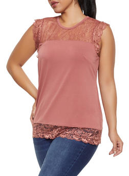 Plus Size Lace Trim Sleeveless Top - 8428075222014