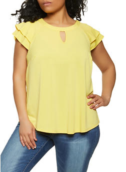 Plus Size Tiered Cap Sleeve Top - 8428075222023