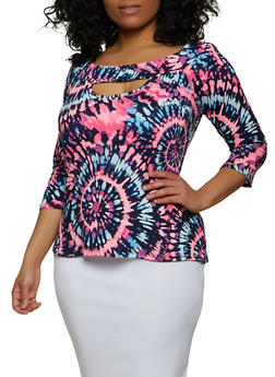 Plus Size Printed Off the Shoulder Keyhole Top - 8429020620318