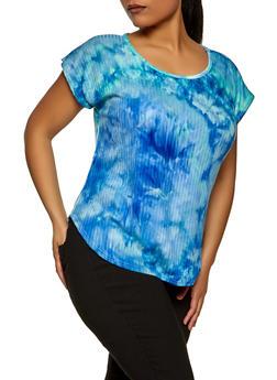 Plus Size Ribbed Tie Dye Top - 8429020620840