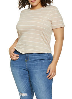 Plus Size Knot Front Striped Tee - 8429020620873