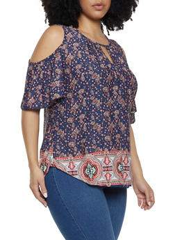 Plus Size Paisley Cold Shoulder Top - 8429020621475