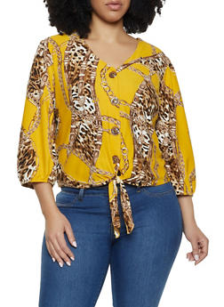 Plus Size Printed Soft Knit Top - 8429020621875
