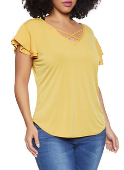 Plus Size Caged V Neck Top - 8429020622139