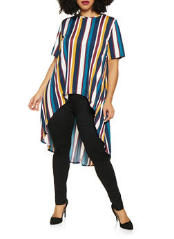 Plus Size Striped High Low Top - 8429020622262