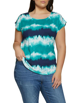 Plus Size Tie Dye Cap Sleeve Tee - 8429020622856