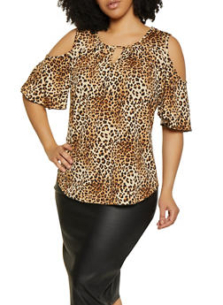 Plus Size Animal Print Cold Shoulder Top - 8429020623335