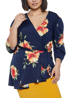 Plus Size Floral Ruched Faux Wrap Top - 8429020623795