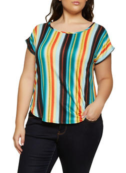 Plus Size Striped Soft Knit Top - 8429020623856