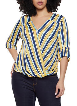 Plus Size Striped Faux Wrap Tabbed Sleeve Top - 8429020624795
