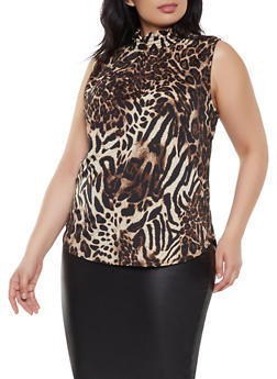 Plus Size Leopard Print Smocked Blouse - 8429020625220