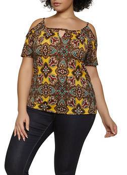 Plus Size Printed Cold Shoulder Textured Knit Top - 8429020625359