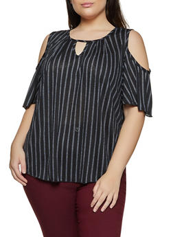 Plus Size Striped Keyhole Cold Shoulder Top - 8429020625657