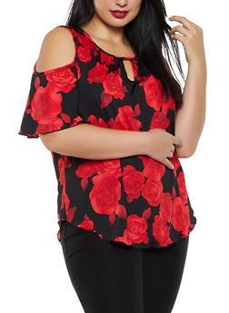 Plus Size Cold Shoulder Floral Keyhole Top - 8429020625779