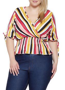 Plus Size Striped Faux Wrap Top | 8429020626185 - 8429020626185