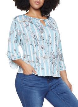 Plus Size Striped Floral Keyhole Top - 8429020626377