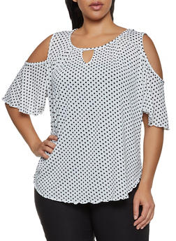 Plus Size Polka Dot Cold Shoulder Top | 8429020626577 - 8429020626577