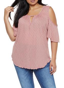 Plus Size Polka Dot Cold Shoulder Top | 8429020626577 - 8429020626577