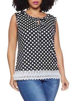 Plus Size Polka Dot Crochet Trim Top - 8429020626839