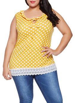 Plus Size Polka Dot Crochet Trim Top - 8429020626839