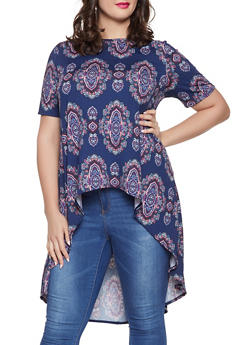 Plus Size Printed High Low Top - 8429020626952