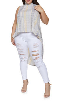 Plus Size Printed High Low Top - 8429020626975