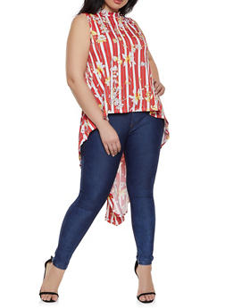 Plus Size Sleeveless Printed High Low Top - 8429020626985