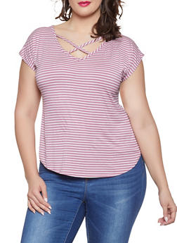 Plus Size Striped Caged Top - 8429020627432