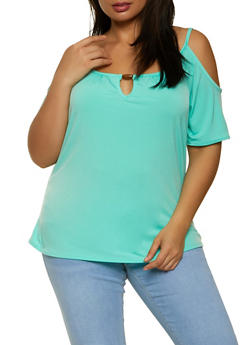 Plus Size Beaded Keyhole Cold Shoulder Top - 8429020627653