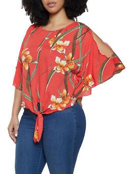 Plus Size Split Dolman Sleeve Floral Top - 8429020628135