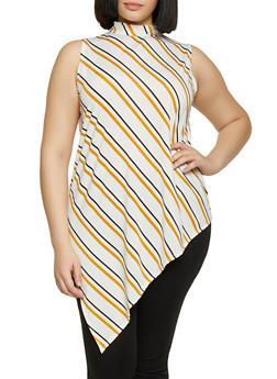Plus Size Striped Sleeveless Asymmetrical Top - Multi - Size 2X - 8429020628185