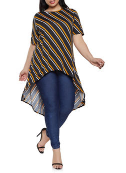 Plus Size Striped High Low Top | 8429020628262 - 8429020628262