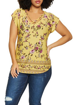 Plus Size Floral Caged Top - 8429020628325