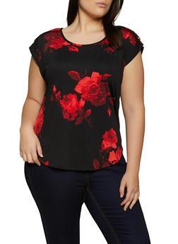 Plus Size Floral Button Tab Detail Top - 8429020628375