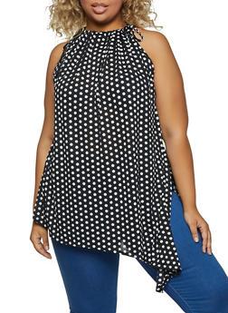 Plus Size Asymmetrical Polka Dot Top - 8429020628599