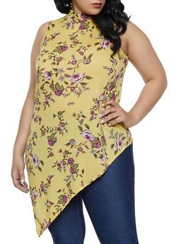 Plus Size Floral Mock Neck Asymmetrical Top - 8429020628735