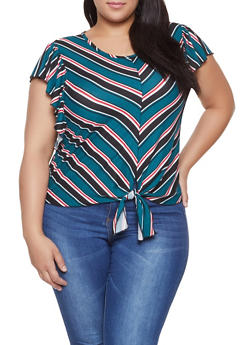 Plus Size Striped Flutter Sleeve Tee - 8429020628739