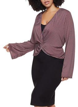 Plus Size Printed Knot Front Top - 8429020628752