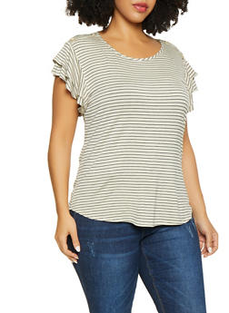 Plus Size Tiered Sleeve Striped Top - 8429020628913
